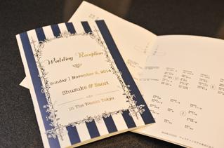 活版印刷・箔押し加工による、コットンペーパーの結婚式の席次表①